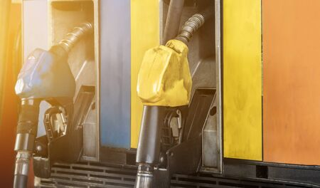 Fuel dispenser or fuel injector blue and yellow gas pump petrol station, Gas station business
