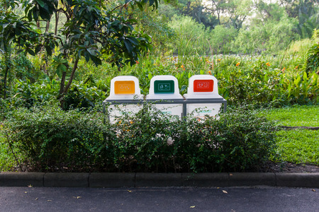 dross: Separate Bin are located in the park Stock Photo
