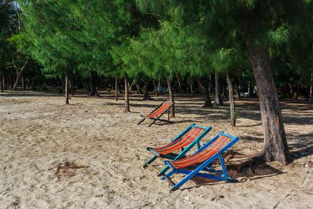 relent: Chair presso la spiaggia, Prachuap Khiri Khan, Thailandia Archivio Fotografico