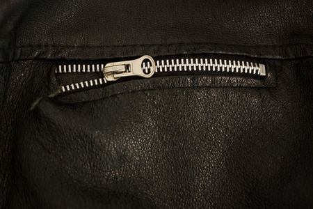 durable: Durable steel zip for leather jackets Stock Photo