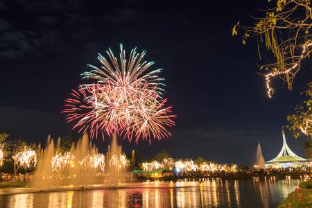 ix: fireworks in Suan Luang Rama IX of Thailand