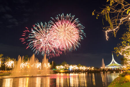 fireworks in Suan Luang Rama IX of Thailand photo