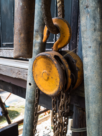 steel pulley old For use in factory photo