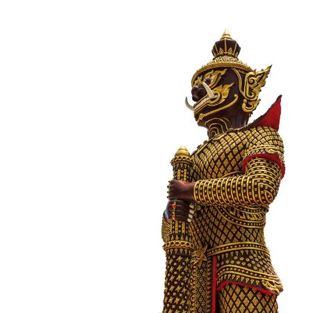 doctrine: Giant statue in front temple doors , Prachuap Khiri Khan, Thailand