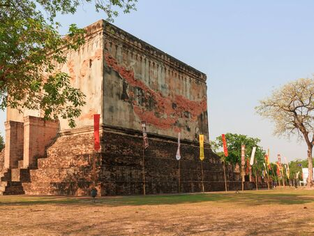 flagging: Old temple in Sukhothai Province of Thailand