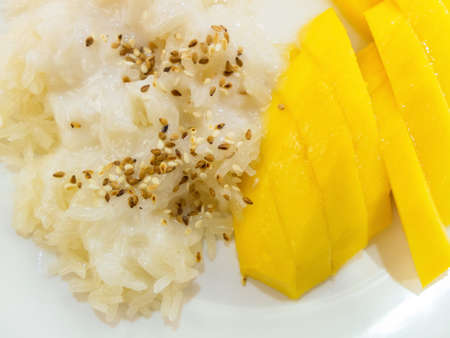 tastes: mango sticky rice , Tastes sweet delicious Stock Photo