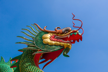 naga china: Dragon sculpture in the temple of Thailand