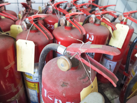 Fire extinguisher for use in factories Stock Photo