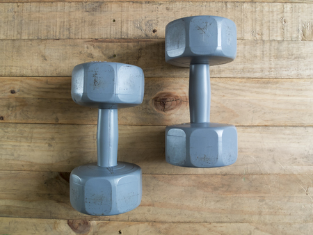 Dumbbell play to the body strong Stock Photo