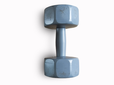 Dumbbell play to the body strong , on white background Stock Photo