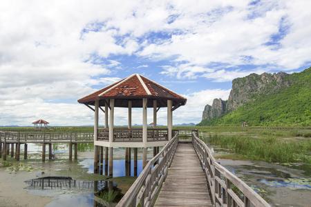 The wood bridge , Sam Roi Yod National Park  of Thailand
