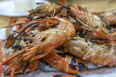 Grilled shrimp , Thai food is delicious and spicy Banco de Imagens