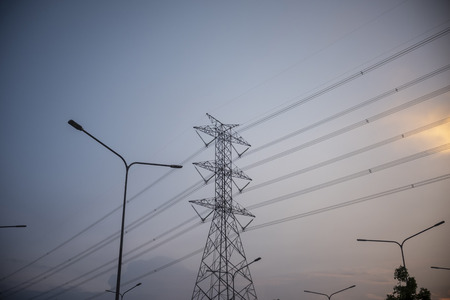 High Voltage Pole  Located in the city