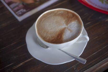 Close up white coffee cup Banco de Imagens