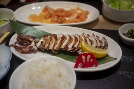 Grilled squid , Good food is useful 版權商用圖片