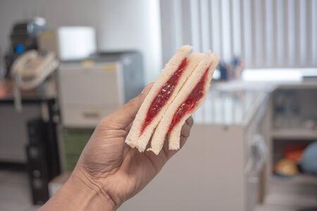 Strawberry Sandwich , breakfast in the office