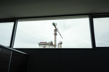 Silhouette of the construction site 版權商用圖片