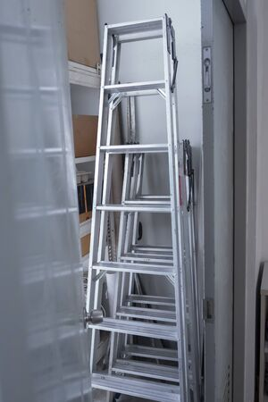 Steel stairs for the technician to use 版權商用圖片