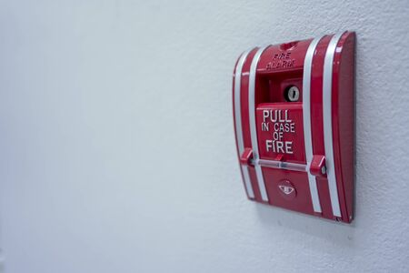 The Switch Fire alarm Color Red in building 版權商用圖片