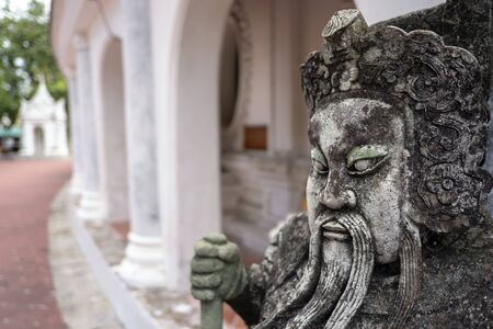 Ancient Chinese warrior statues in temple