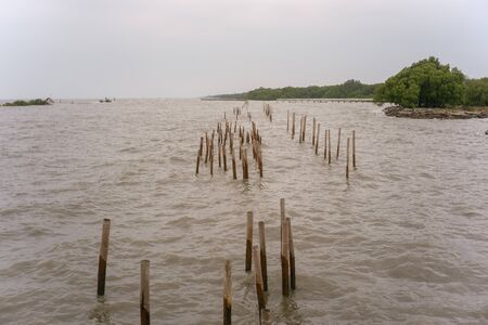 Sea barrier in Samut Sakhon province of Thailand