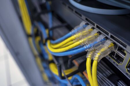 The Lan cable use server of factory Standard-Bild