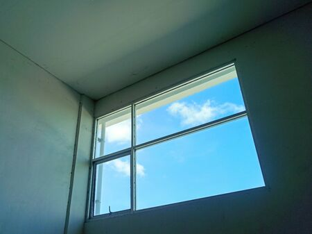 Clear sky outside the window