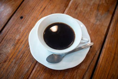 black coffee in a coffee cup top view Standard-Bild