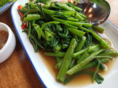 Close-up Stir Fried Chinese Morning Glory , Thai food