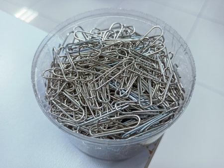 Steel paper clip in the box
