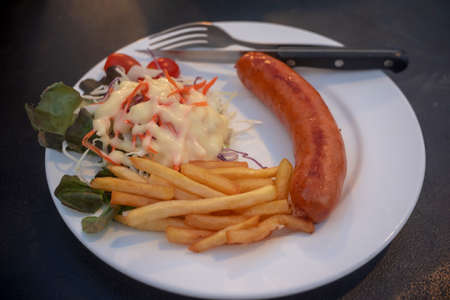 Steak and Sausage , On the plate