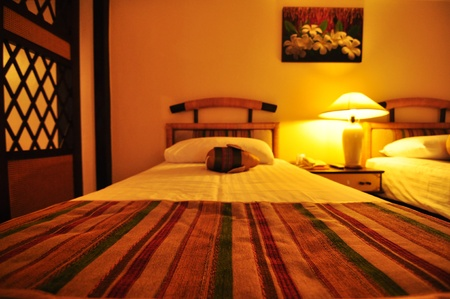 the bed and warm light