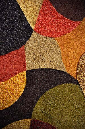 Colorful cereal seeds background. Abstract background photo