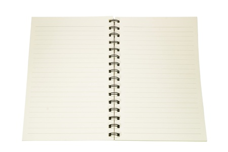 isolated open empty notebook with lined pages photo