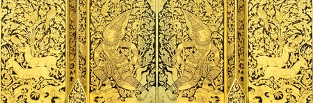 Thai painting on wood gold photo