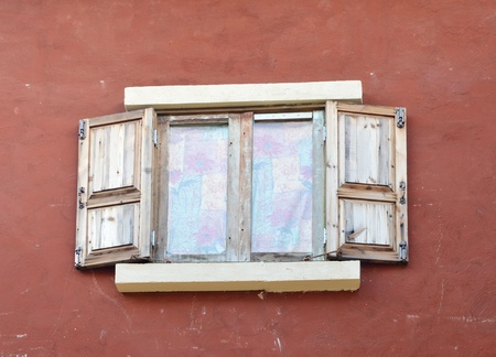 beautiful old window in italian style photo