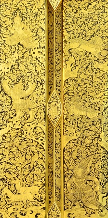 Thai painting on wood gold