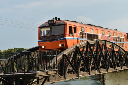 Train ran on bridge over the river Kwai
