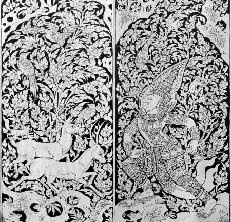 Thai painting on wood black and white photo