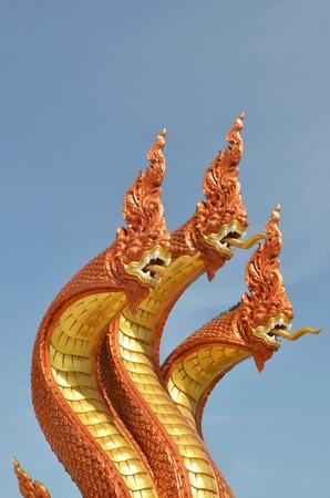 Thai dragon, King of Naga statue with three heads in Thailand Stock Photo - 13589589
