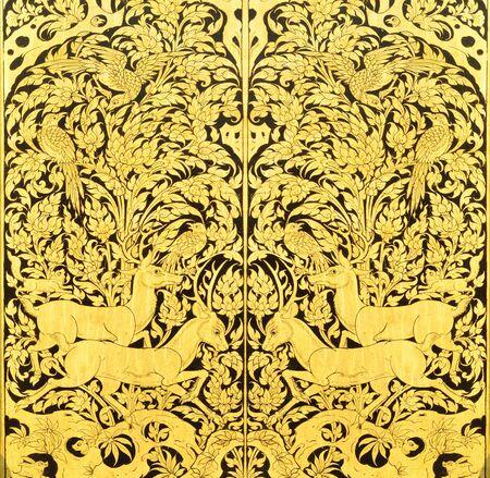 Thai painting on wood gold Foto de archivo