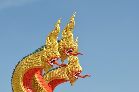 Thai dragon, King of Naga statue with three heads in Thailand photo