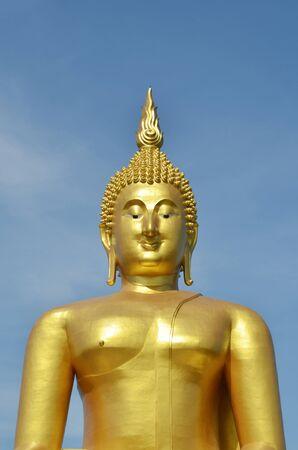 Golden Buddha statue at Wat Muang in Angthong, Thailand photo