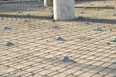 Concrete pouring during commercial concreting floors of buildings in construction Stok Fotoğraf