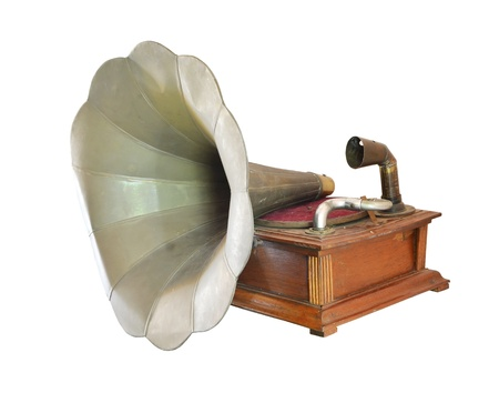 antique gramophone isolate on white photo