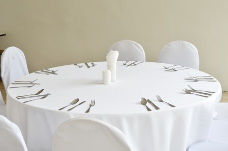 Fine restaurant dinner table place setting 스톡 콘텐츠