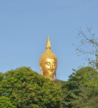 ig Golden Buddhas at Wat Muang, Thailand photo