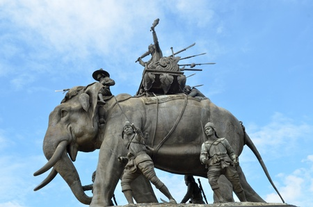 The elephant statue in the blue sky,Monument of King Naresuan at Suphanburi province in Thailand Stock Photo