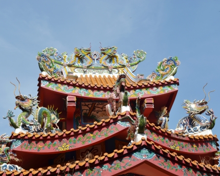dragons on the roof with blue sky background photo