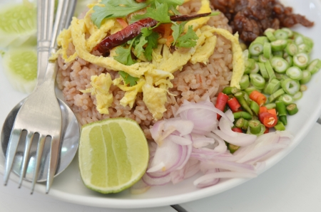Thai Food Combo Fried Rice With BBQ pork and Salad photo